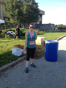 "After my first ""real"" 5K run. Still standing and everything!"