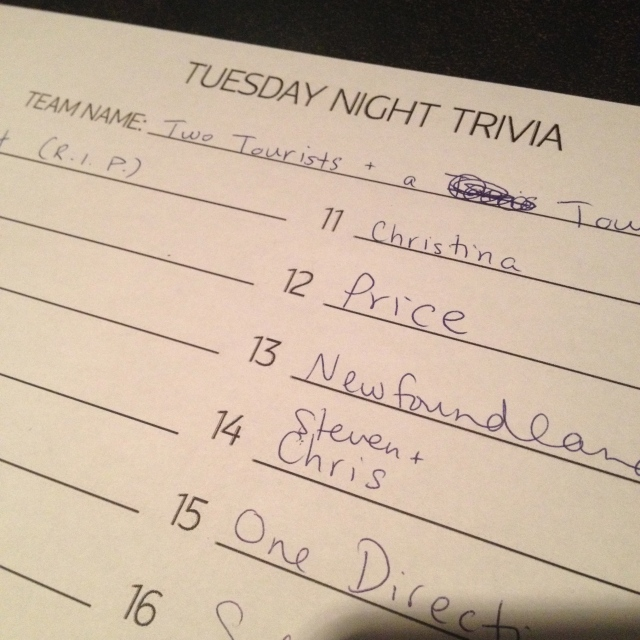 Trivia Night in Halifax. We lost.