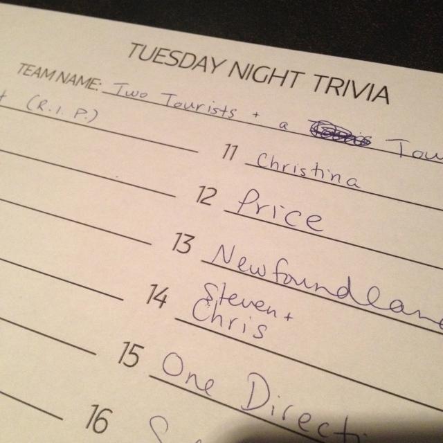 Trivia Night in Halifax. We lost.