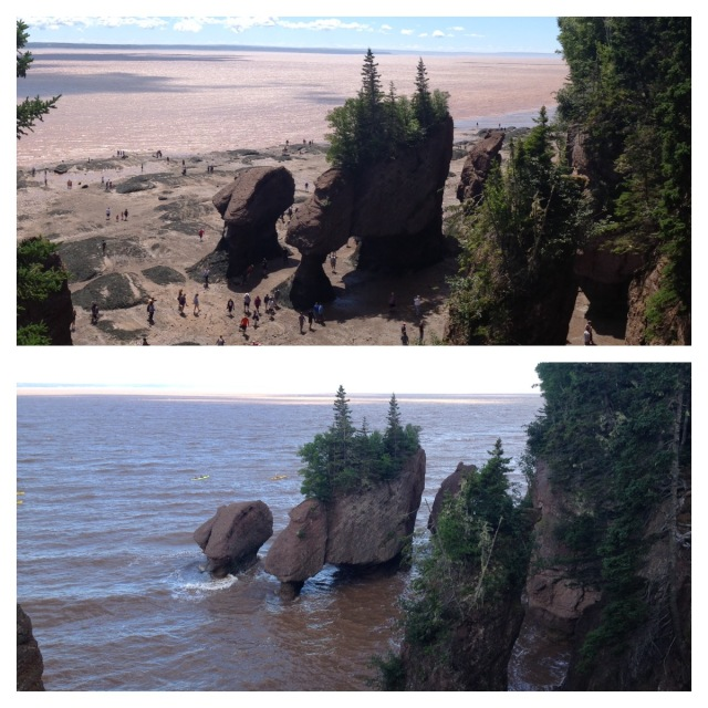 Hopewell Rocks in Bay of Fundy (low tide and high tide)